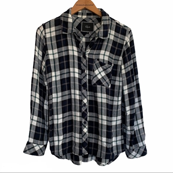 Rails Hunter Black White Blue Green Plaid Shirt